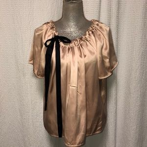 Cynthia Steefe silk blouse, champagne and black